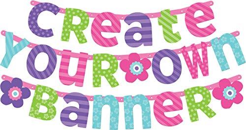 amscan 120185 Partykette Birthday Personalisierbar, Pink & Türkis