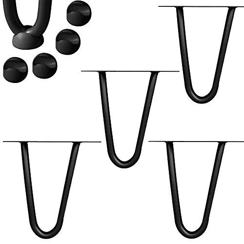 Melko 4 Stück Hairpin Legs Haarnadel Tischbeine aus 12 mm Stahl Tischfuß inkl. Bodenschoner, Höhe 10 cm, 2 Streben, Schwarz