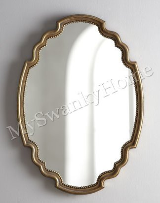 Large Shaped Scalloped Beaded Gold Oval 39 Wall Mirror Amazon Co Uk Kitchen Home