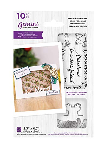Crafter's Companion Gemini-Clear Acrylic Stamp & Metal Die Set-Peek-A-Boo Reindeer, Silver, One Size