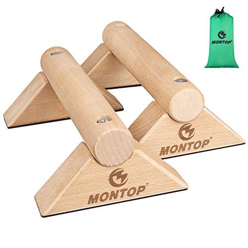 MONTOP Poignées de pompes en bois, Parallettes amovibles, Barres push-up antidérapantes, poignées push up avec portables, pour l'intérieur et l'extérieur pour la musculation, la callisthénie, le yoga