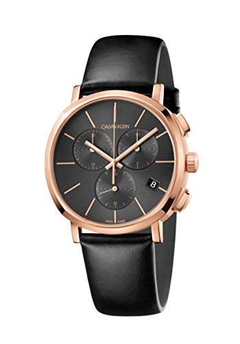 Calvin Klein Herren Chronograph Quarz Uhr mit Leder Armband K8Q376C3