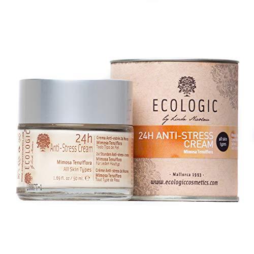 Crema Facial Anti Estrés 24h (Mimosa Tenuiflora y Manzanilla) - 50 ml. Ecologic Cosmetics by Linda Nicolau. Bio cosmética sostenible, vegana, orgánica, ecológica, eco friendly y climate friendly
