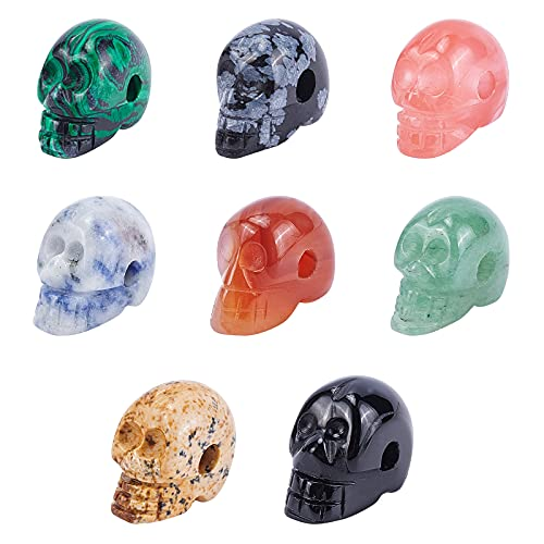 PH PandaHall 9 Colors Gemstone Skull Beads, Crystal Human Figurine Sculpture Assorted Skull Statue Space Beads for Bracelet Necklace Jewelry DIY Craft Creation, 9Pcs/Set