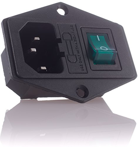Hifi Lab 4X Kaltgeräte Einbau-Stecker Einbau-Buchse C-14 mit Schalter Audio Kaltgeräte-Buchse Einbau Kupplung Stecker Buchse inkl. Sicherung Kaltgeräte 4 Stück