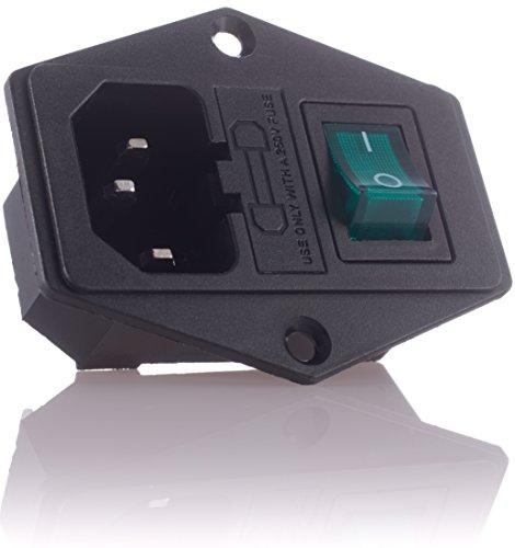 Hifi Lab Kaltgeräte Einbau-Stecker Einbau-Buchse C-14 mit Schalter Audio Kaltgeräte-Buchse Einbau Kupplung Buchse Stecker inkl. Sicherung Kaltgeräte
