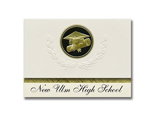 Signature Announcements Ulm High School (New Ulm, MN) Graduation Ankündigung, Presidential Style, Elite Paket mit 25 Cap & Diplom Siegel Schwarz & Gold