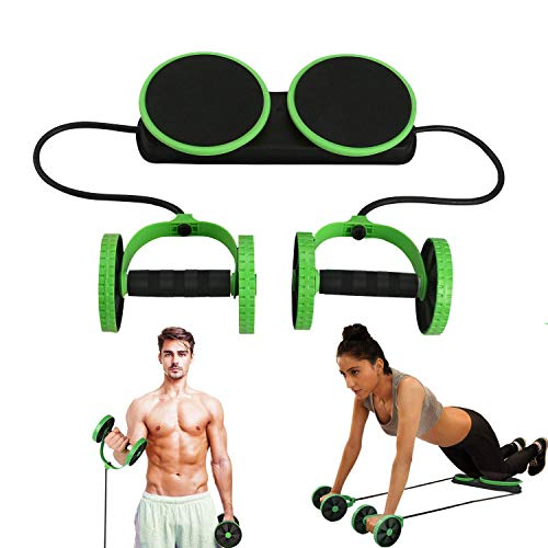 Lurowo Multi Function Ab Roller Wheel,New Version Abdominal Wheel Muscle Trainer Exercise Equipment Pull Rope Sports Machine Arm Abdomen Workout Fitness Roller Home Gym Training Tool,Green