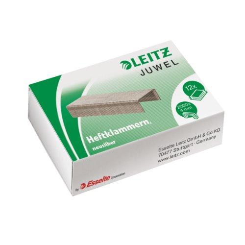 Leitz Juwel Heftklammern 4 mm, Box mit 2000 Stück, Neusilber, 56410000