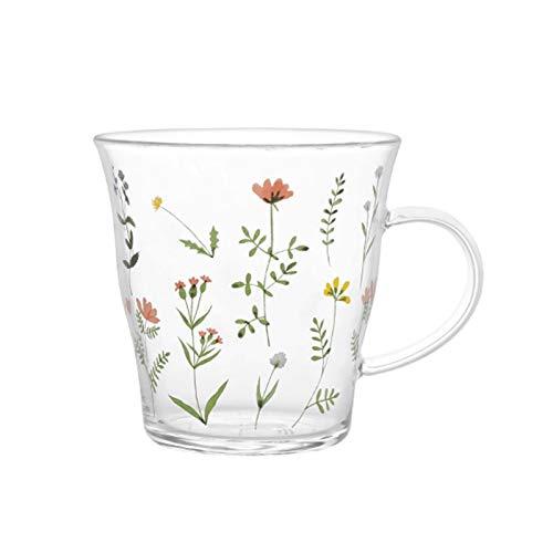 Tazas De Café Copa de té de la flor Taza de té de cristal transparente Taza de café resistente al calor con la manija pequeña flor rota de la flor de desayuno regalo novela para niñas 339ml Tazas De D