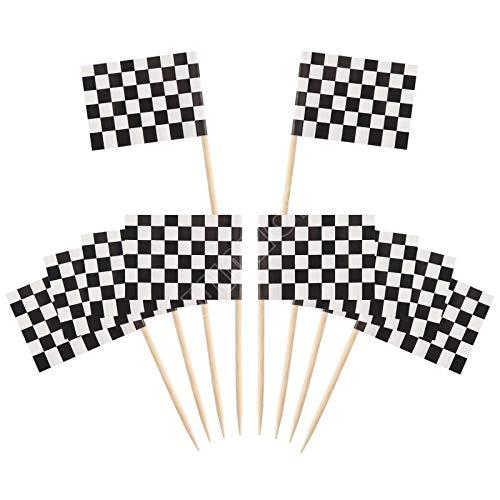 Zonfer 10pcs Checkered Racing Flagge Picks Obst Speisen Zahnstocher Kuchen-Deckel-Cocktail Sticks Für Zubehör-Party