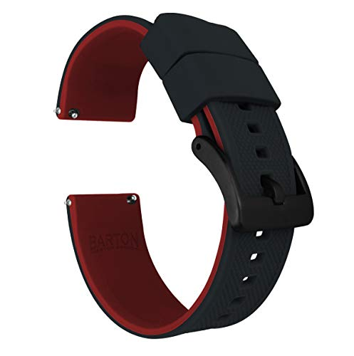 22mm Black/Crimson Red - Barton Elite Silicone Watch Bands - Black Buckle Quick Release