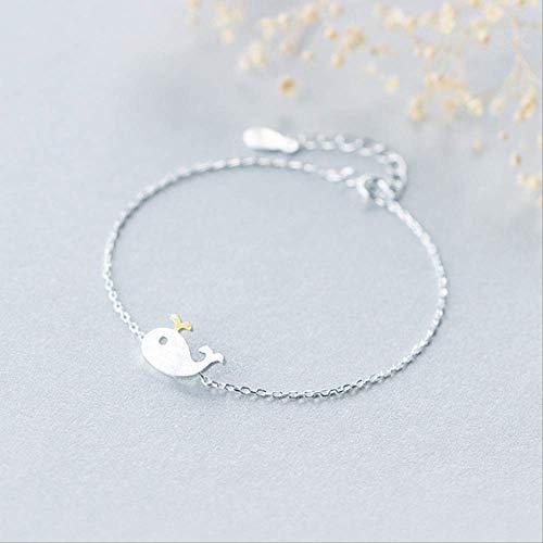 DODO.GOGO Small Whale Bracelet Female Collarbone Chain s925 Silver Dolphin Necklace Cute Small Animal Bracelet Ornament
