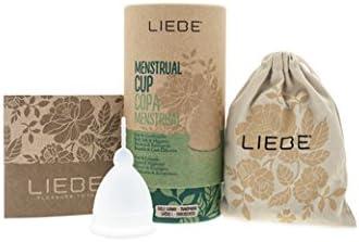 Copa Menstrual 100% Silicona Médica Transparente - Liebe - Medida Pequeña y Grande - Alternativa Ecológica a las Compresas y Tampones (GRANDE)