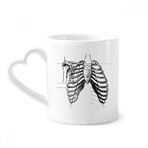 beatChong Rib Knochen Menschliches Skelett Skizze Kaffeetasse Keramik Keramik-Cup mit Herz Griff 12 Unzen Geschenk