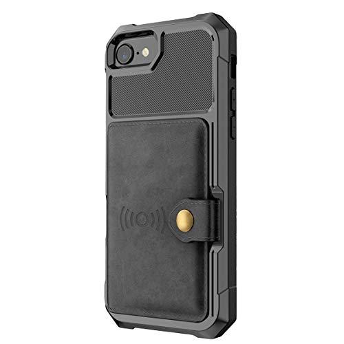 lllteri Hülle für iPhone 7 Case HandyHülle Leder Brieftasche PU Handytasche Slim Schutzhülle Geldbörse Kredit Kartenfächer Schale Kompatibel mit iPhone 7