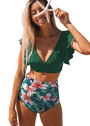SPORLIKE Women Ruffle High Waist Swimsuit Two Pieces Push Up Tropical Print Bikini (Print 21, Small)
