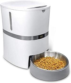 HoneyGuaridan A36 Mangeoire Automatique pour Chat, Chien Distributeur de Nourriture avec Bol de Nourriture en Acier Inoxydable, Contrôle de Portion et Enregistrement Vocal,Capacité 13 Tasses