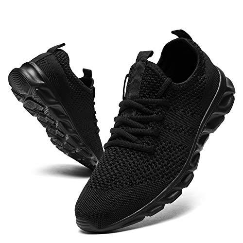 Damyuan - Zapatillas de running para hombre, deportivas, deportivas, deportivas, deportivas, deportivas, cómodas, entrenamiento, transpirables, ligeras, sin cordones, Negro (negro), 43 EU Étroit