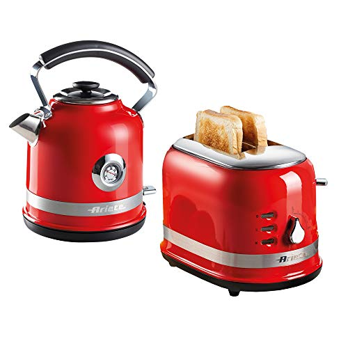 Ariete ARPK30 Moderna Cordless Kettle and 2 Slice Toaster Set, Stainless Steel Body, Red