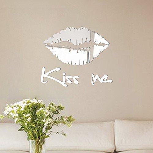Pegatinas Pared Espejo kangrunmy Kiss Me pared impermeable adhesivo para pared pegatinas de pared en pared niño adulto dormitorio salón cocina cuarto de baño casa interior Decor 30x 25cm