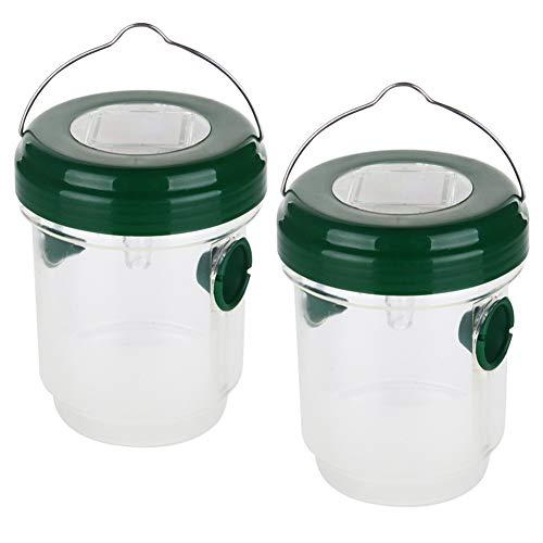 Rann.Bao Avispa Trampa para Colgar,Trampa para Insectos LED Solar,contra Insectos,Moscas y avispones,2 Piezas Verde