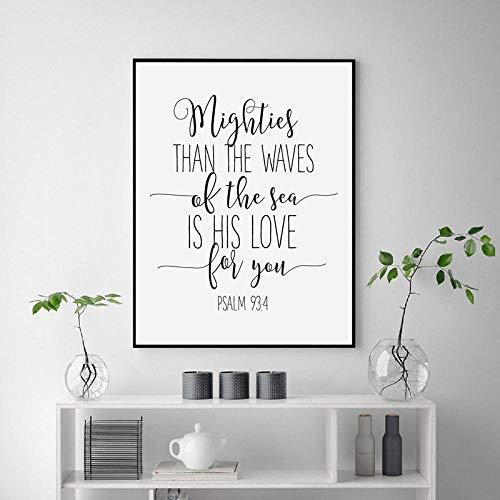 NLZNKZJ Moderne minimalistische christliche Schrift zitiert Leinwand Malerei Poster und Print, Kinderheim Wand Kunst Dekor 60x90cm kein Rahmen