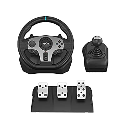 270°/900° Racing Wheel, PXN V9 USB PC Race Game Driving Steering Wheel with Clutch Pedals and Shifter for Windows PC/PS3/PS4/Xbox One/Switch