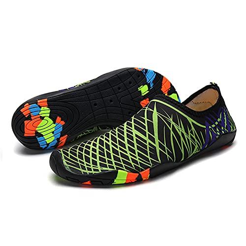 HOTROAD Zapatos de Agua Ligeros Descalzos Sandalias de Playa sin Cordones para Mujeres, Hombres y niños River Camping Travel Deportes Running Surf Shoes-204-Verde 43