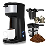 Costway Coffee Maker, Portable Auto Shut-off 2-in-1 Coffee Maker, Single Cup Coffee Brewer Built-in Filter, Thermal Drip Instant Coffee Machine, Ground Coffee and Coffee Capsules Coffee Machine 1000W(Black)