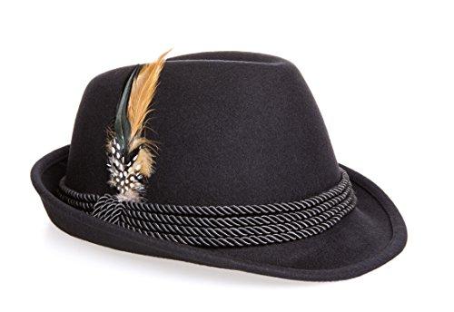 "Holiday Oktoberfest Wool Bavarian Alpine Hat - Black Color, Large (7 3/8"" - 7 1/2"")"