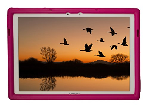BobjGear Bobj Silikon-Hulle Heavy Duty Tasche für Samsung Galaxy TabPro S 12 (SM-W700) Schutzhulle (Himbeere)
