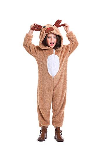 Cuteshower Kids Reindeer Christmas Outfits Onesie Pajama Role Play Animal Costume 4-6 Years Khaki
