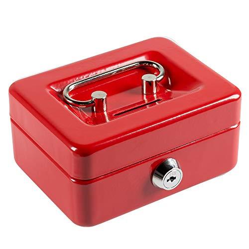 八番屋 ミニ金庫 手提げ金庫 貯金箱 CASH MATE キャッシュメイト 鍵付き 家庭用 おしゃれ かわいい (レッド(S))
