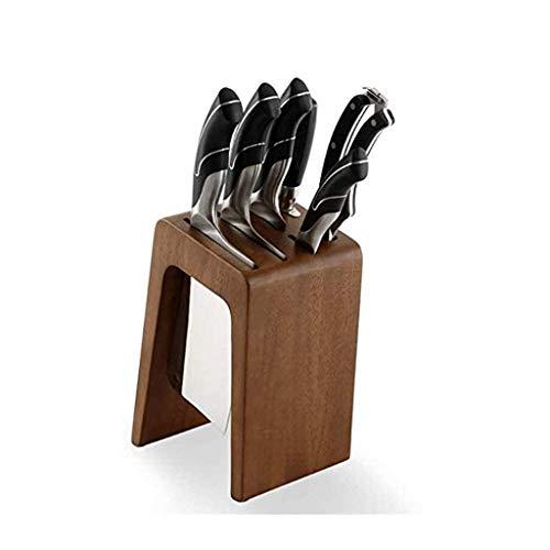 WZHZJ Universal Cuchillo de Cocina Organizador con 6 Ranuras de Cuchillos Holder, encimera Bloque Portacuchillas for Easy Cuchillo de Cocina de Almacenamiento, de Madera