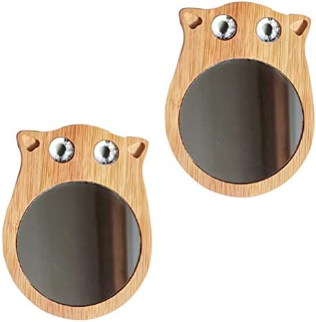 Minkissy 2 stuks kattenvormige spiegel spiegel mini houten spiegel mini spiegel spiegel mini makeup spiegel reizen spiegel