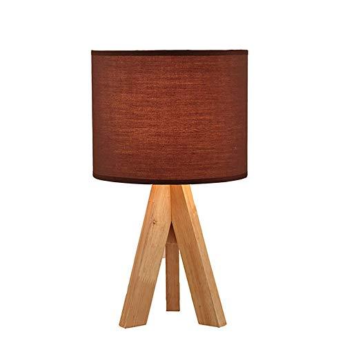Nachtkastlampje houten statief, zacht warm licht voor de slaapkamer gedecoreerd, bedlampje met stoffen lampenkap, eenvoudig design, ledlamp inclusief tafellamp bureaulamp 12.5 * 7in A