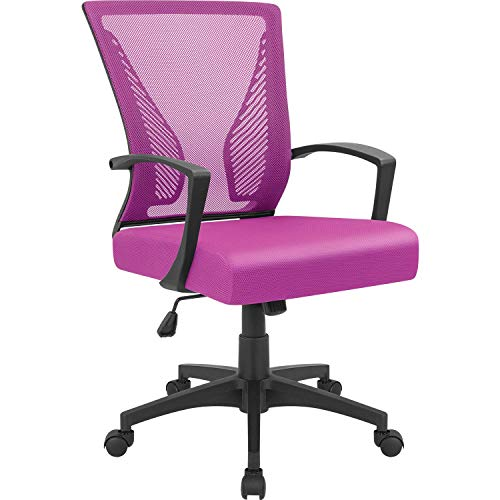 Furmax Office Chair Mid Back Swivel Lumbar Support Desk Chair, Computer Ergonomic Mesh Chair with Armrest (Pink)