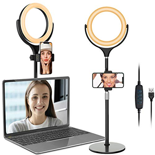 Computer Ring Light for Video Conferencing - Desk Circle Light for Laptop with Adjustable Metal Stand and Phone Holder for Video Recording, Webcam Chat, Makeup, Live Stream, Selfie Photography