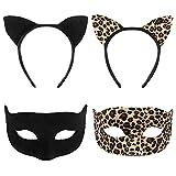 FRCOLOR Juego de diadema con orejas de gato negras, diadema con máscara, orejas de gato, para niños y adultos, disfraz de cosplay (negro, diadema y máscara)