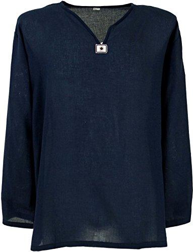 GURU SHOP Yoga Hemd, Goa Hemd, Leichtes Freizeithemd, Schlupfhemd, Herren, Dunkelblau, Baumwolle, Size:XXL, Hemden Alternative Bekleidung