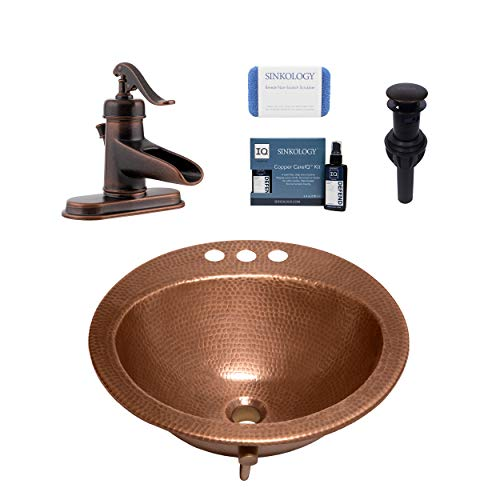 Sinkology SB101-19AC Bell Drop-in Handmade Copper Bath Sink with 4' Faucet Holes and Overflow, 19', Antique Copper