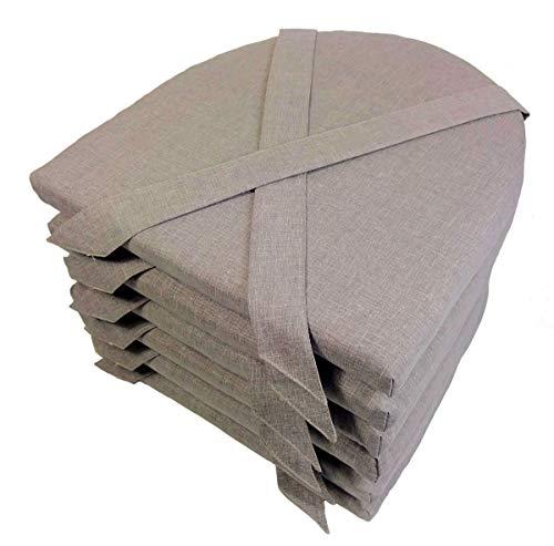 Rattani Set 6 x Stuhlkissen/Sitzkissen Marina halbrund mit Schleife 42 x 45 cm Dicke 5 cm, Fb. Uni Living Dark Gray - Made in EU