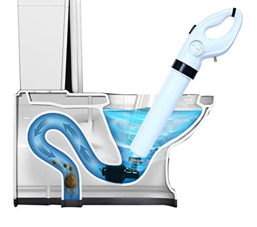 FEIYABDF Toilet Plunger Drain Unblocker Powerful Manual Pneumatic Dredge Equipment High Pressure Air Drain Blaster Cleaner High Efficient Applied to Kitchen Bathroom Clogged Pipe White