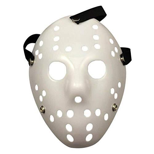 XWYWP Mscara de Halloween para Halloween con cara de miedo para la cabeza, disfraz de cosplay, disfraz de Halloween, decoracin blanca