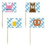 Amscan 998402 - Party-Picks Oktoberfest, 30 Stück, Länge 6,5 cm, Holz, Papier, Zahnstocher, Spieß, Stecker, Fähnchen, Oktoberfest, Mottoparty, Dekoration