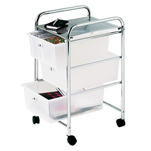 Premier Housewares Carrello con 3 cassetti, telaio cromato, 65 x 39 x 33 cm, colore: Bianco