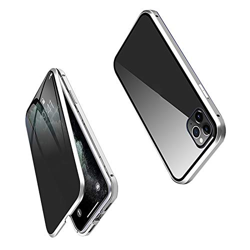 XWCG Carcasa Anti-Pío para iPhone 12/12 Mini/12 Pro MAX Funda Adsorción Magnética 360 Grados Protección Carcasa Vidrio Templado Frontal y Posterior Case,Plata,12Mini