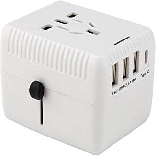 XIMINGJIA-O Power Plug Adapter - International Travel - 3 USB Ports in Over 150 Countries - 100-250 Volt Adapter - (1 Pack) White International Converter,