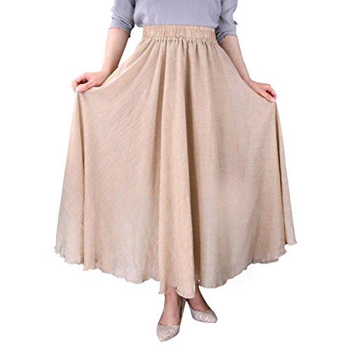 Evedaily Damen Rock Maxirock Sommerrock Langer Rock Baumwolle Leinen elastische Taillenbund One Size - 3
